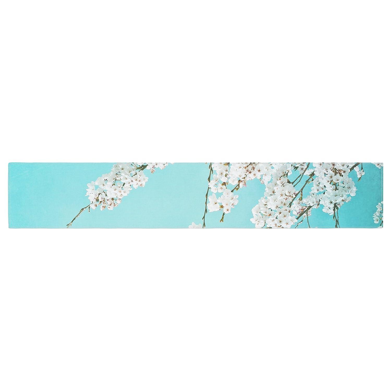 KESS InHouse Monika Strigel Hanami Teal White Table Runner 16 x 180