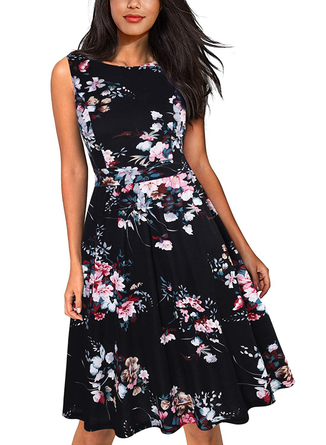 0f11aa6ce78c2 MISSJOY Womens Vintage 1950's Sleeveless Floral Rockabilly Garden Party  Dress: Amazon.ca: Clothing & Accessories