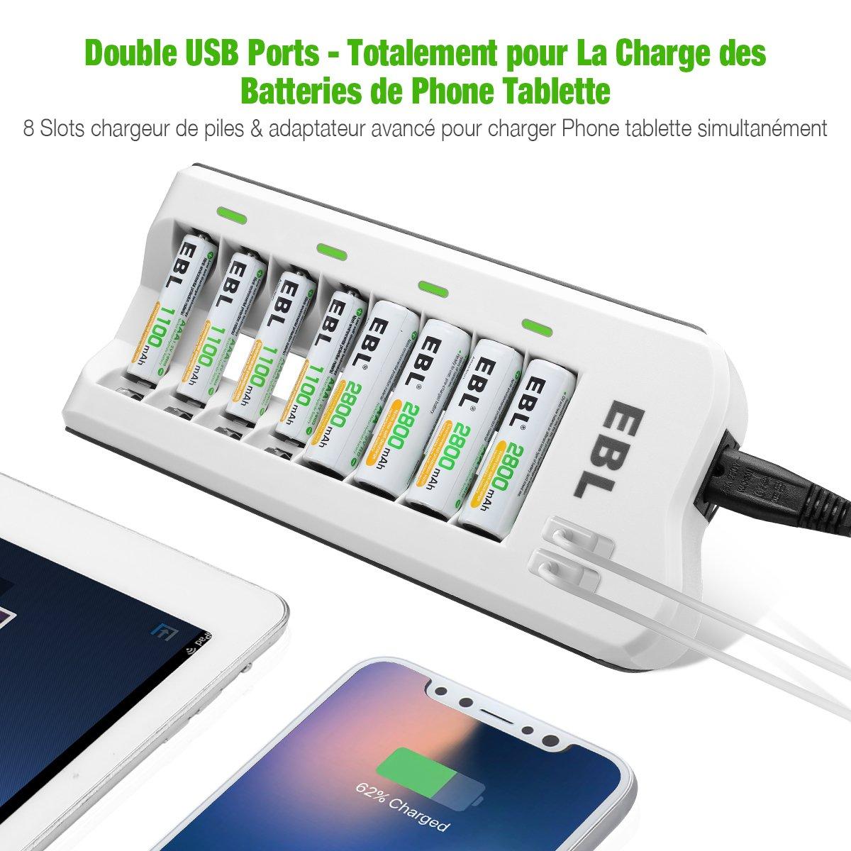 EBL Chargeur de Piles AA/AAA/Ni-Cd/Ni-MH Rechargeable Rapide 8 Slots avec 2 USB Ports