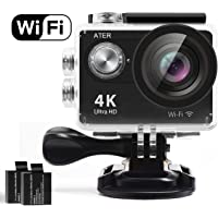 Ater 4K WiFi Action Camera with 2 Rechargeable 1050mAh Batteries and Mounting Accessory Kits