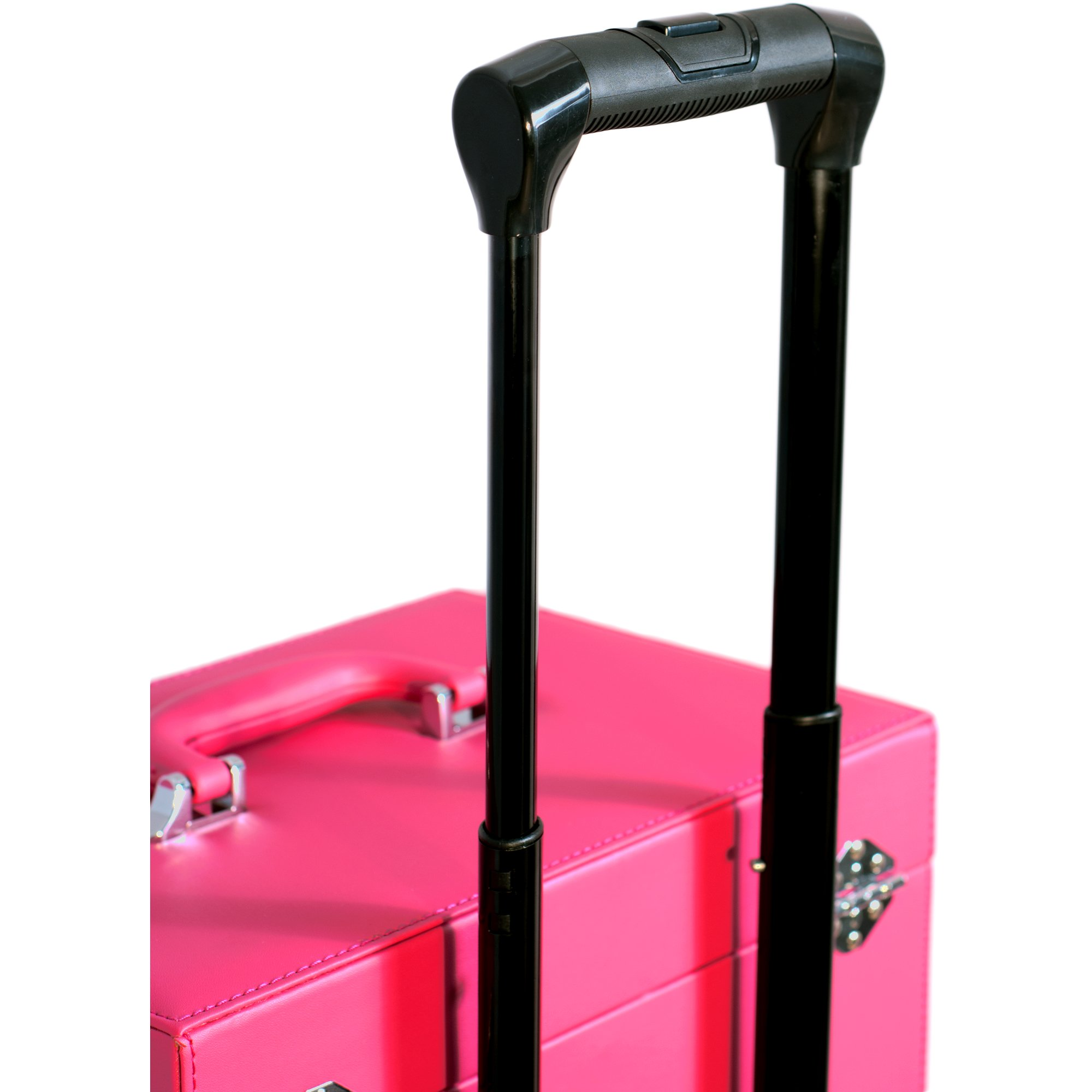 Sunrise Faux Leather Professional Nail Artistry 4 Wheel Rolling Makeup Case, Pink by SunRise (Image #3)