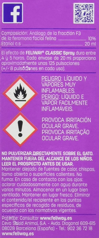 Feliway Classic, Spray Feromona Facial Anti Estrés para Gatos - 20 ml: Amazon.es: Productos para mascotas