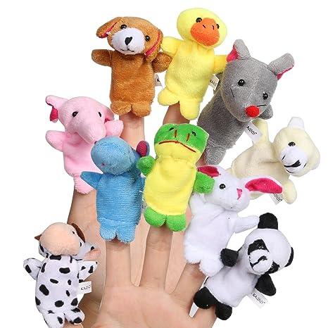 fourHeart Animales de la dedos títeres muñecos Soft Terciopelo accesorios juguetes, para Bebé Niños -