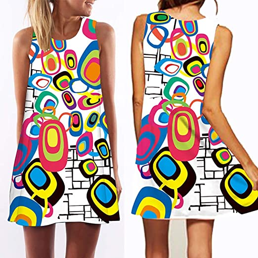 Amazon Com Junword Women Casual Sexy Sleeveless Evening Cocktail Party Summer Beach Short Mini Dress Digital Printing Round Neck Sling C M Home Kitchen,How To Properly Set A Table Youtube