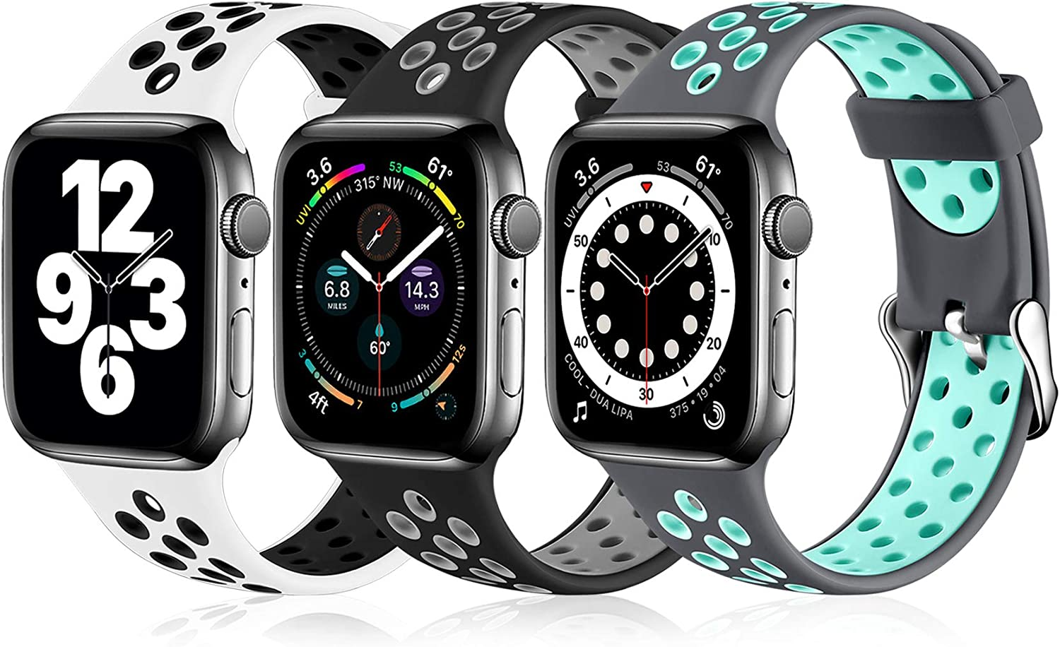 Ouwegaga Compatible with Apple Watch Band 42mm 44mm Soft Silicone Breathable Air Holes Sport Bands for iWatch Series 6 5 4 3 2 1 SE Women Men Black/Gray White/Black Gray/Teal M/L 3 Pack