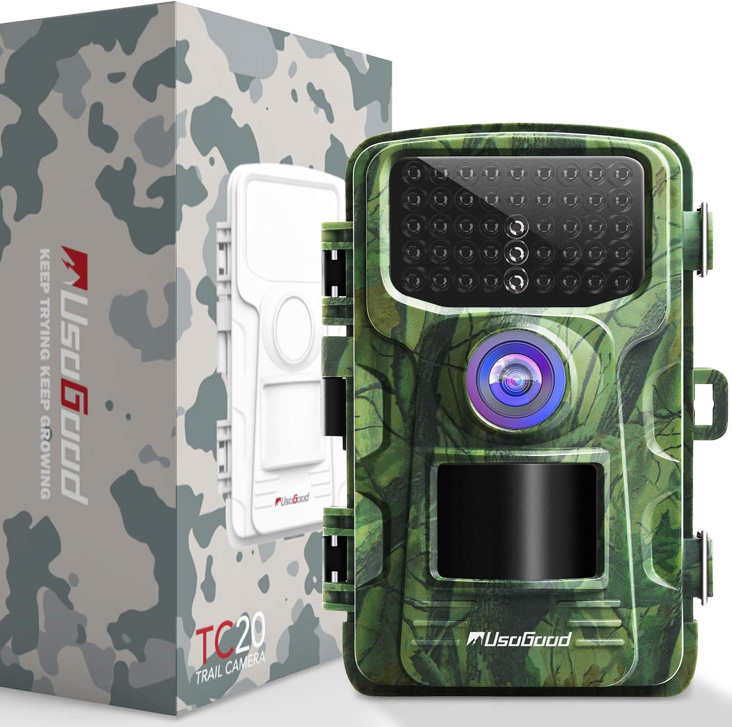 Trail Camera 14MP 1080P 2.4 LCD Game Camera with 42pcs No Glow IR LEDs Infrared Night Vision up to 75ft 20m IP66 Waterproof Hunting Camera for Wildlife Animal Scouting Digital Surveillance