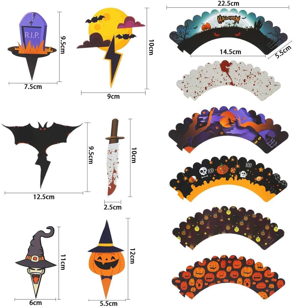 Fant/ôme De Citrouille Chauve-Souris Araign/ée Cake Wrappers Halloween G/âteau /À La Main D/écorations Fournitures 48PCS QIMMU Halloween Cupcake Toppers Wrappers