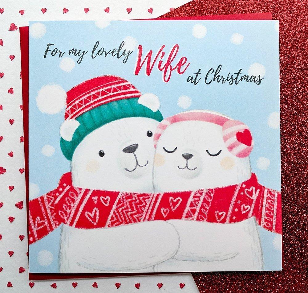 Wife Christmas Card Hand Drawn Cute Polar Bears Card Wife Cards