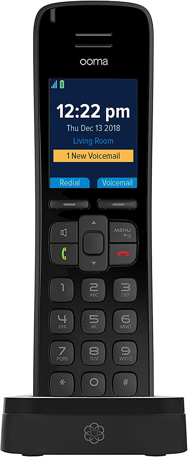 Ooma HD3 Handset cordless phone with picture caller-ID and HD voice quality, Works with Ooma Telo VoIP free Internet home phone service.