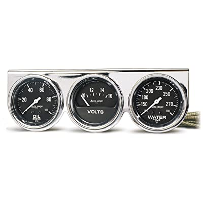 AUTO METER 2399 Autogage Black Oil/Water/Volt Gauge with Chrome Console: Automotive