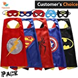Kei store Cape and Mask Superhero Cartoon Dressing Up Costumes for Kids, Comic Cartoon Birthday Party Game Supplies for Boy and Girl, Set of 5