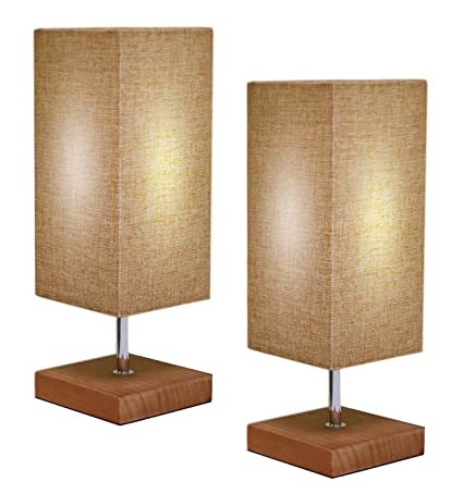Set of 2 Modern Simple Square Minimalist Design Bedside Nightstand Table  Lamp - Stained Solid Wood Base Beautiful Linen Woven Fabric Shade, By: Ella  ...