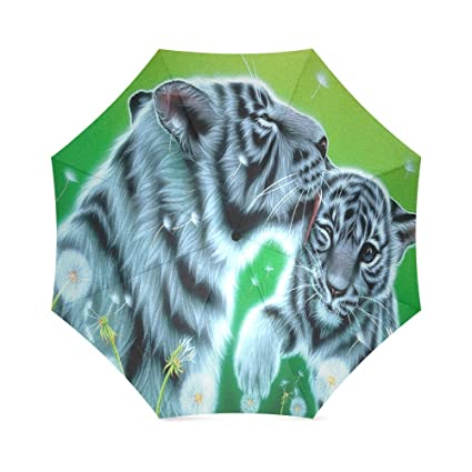 Funny anti-UV resistente de las mujeres sol paraguas Tiger familia resistente al viento resistente