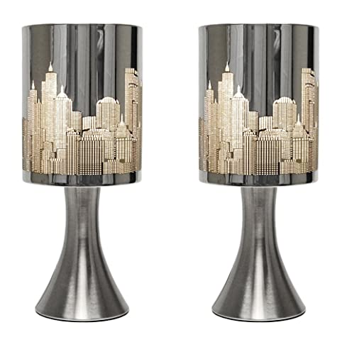 Pair of chrome touch table lamps with new york skyline shades pair of chrome touch table lamps with new york skyline shades mozeypictures Choice Image