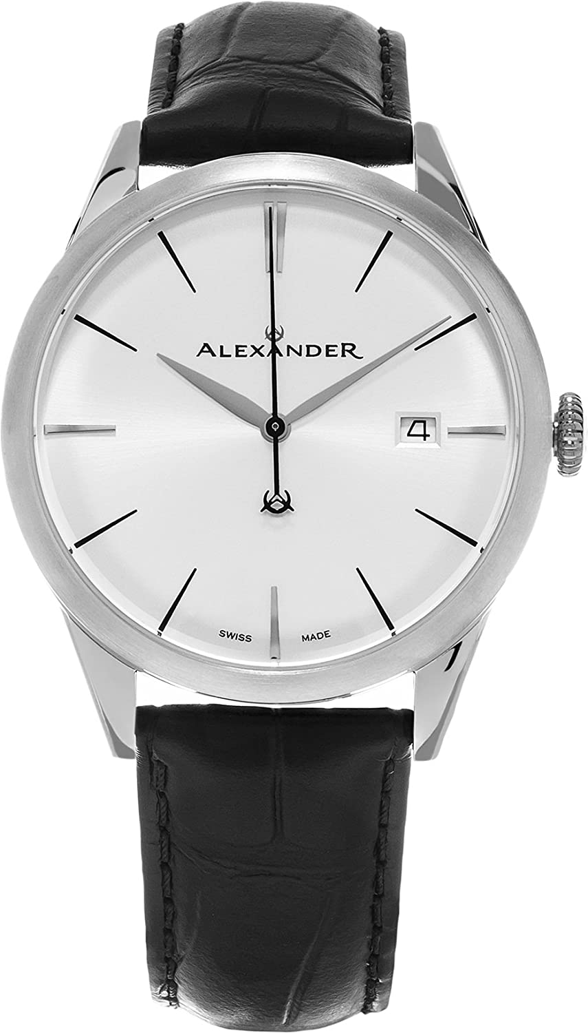 Alexander Heroic Sophisticate Men s Silver Dial Black Leather Strap Swiss Made Watch A911-02