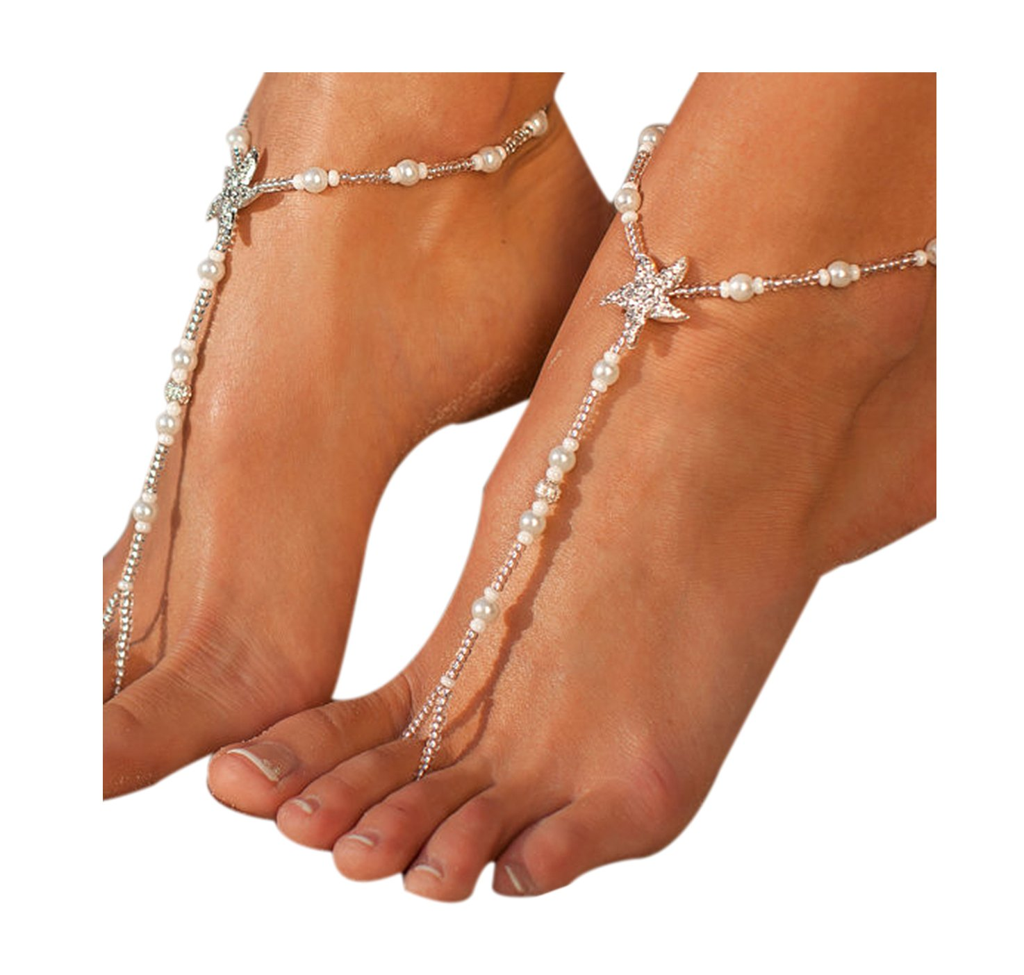 L'vow Pearl Ankle Chain Dec with Starfish Beach Barefoot Sandal Anklet Bracelet L' vow bracelet-10
