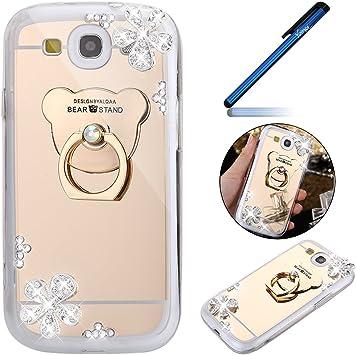 Ysimee Samsung Galaxy S3 Funda,Xmas Decoración Fundas Transparente Silicona Estuches de Espejo Suave Ultra Fina Delgado Gel Bumper TPU Goma Protectora Carcasas -Oro: Amazon.es: Electrónica