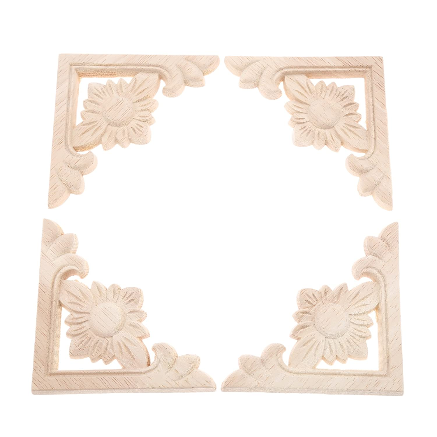 4pcs Vintage Wood Carved Decal Corner Onlay Applique Frame Furniture Wall Unpainted for Home Cabinet Door Decor Craft 9x9cm