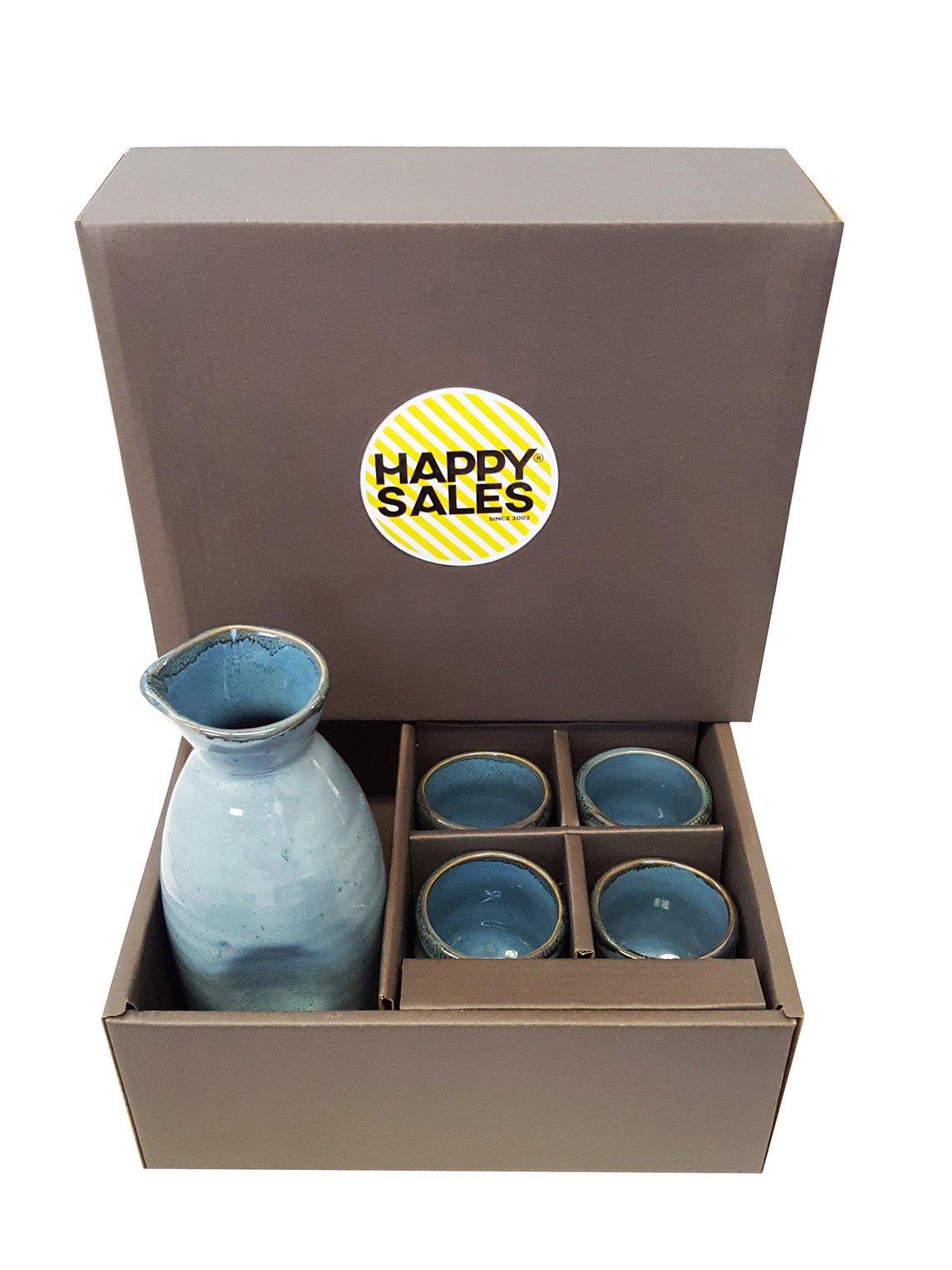 Happy Sales HSSS-BLU03,  5 piece Ceramic Sake set - Grey Blue by Happy Sales