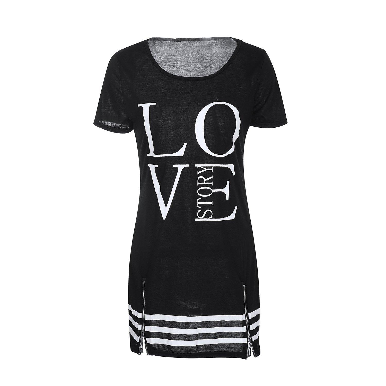 SUNNOW® 3 Farben NEU Damen T-Shirt Minikleider Partykleid Sexy Liebe LOVE bedruckt Rundhals V-Ausschnitt Frauen Blusen Oberteile Sommer modisch