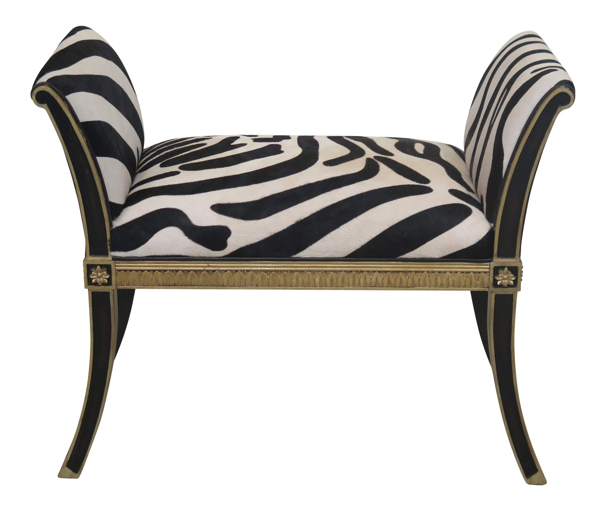 MAITLAND SMITH Model #8105-42 Zebra Hide Regency Bench ~ New by Maitland-Smith