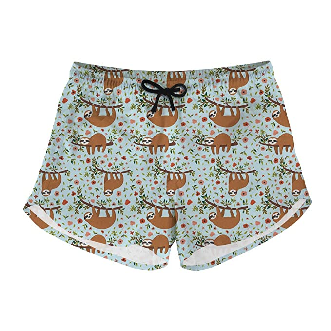 ae613e7418a0f Showudesigns Casual Swim Trunks Quick Dry Sloth Cute Print Women's Athletic  Boardshort Gym Sports Beach Shorts