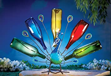 Solar Powered LED Lighted Wine Bottle Holder Garden Decor Peacock Bird  Metal Outdoor Yard Decoration Display