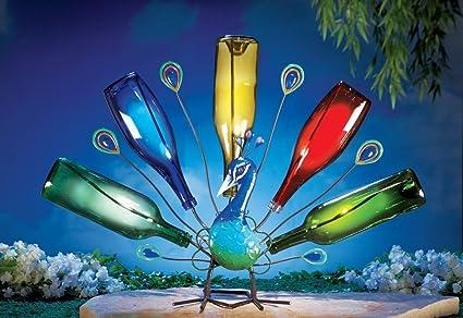 Solar Powered LED Lighted Wine Bottle Holder Garden Decor Peacock Bird  Metal Outdoor Yard Decoration Display
