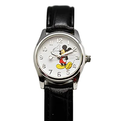 Mickey Mouse Disney's White Dial Face w/Black Leather Band Watch (25mm): Toys & Games