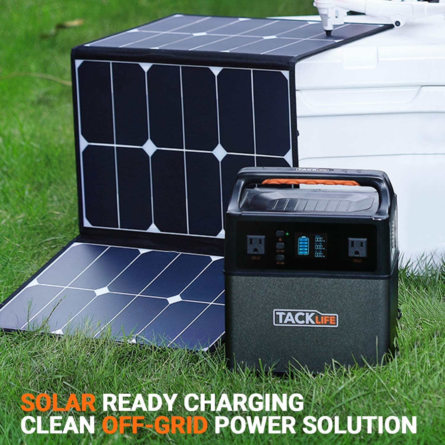 TACKLIFE P40 400Wh Portable Power Station Pure Sine Wave 110V 300W AC Rechargeable Backup Power Supply for Outdoor Using DC Solar Generator with Multiple Outlets