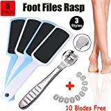5 Pack Foot Pedicure Kit, Foot Rasp Files, Corn Callus Cuticle Hard Skin Heel Shaver Cutter Grater ( Bonus 10 Blades )