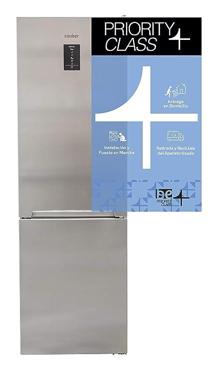 Sauber - Frigorífico Combi SC200I Tecnología NOFROST - Eficiencia energética: A++ - 201x59,5cm - Acero inoxidable