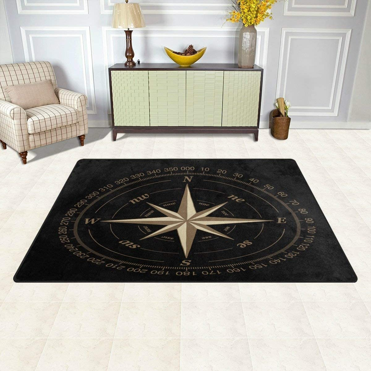 Wozo Compass Rose Black Area Rug Rugs Non Slip Floor Mat Doormats Living Room Bedroom 31