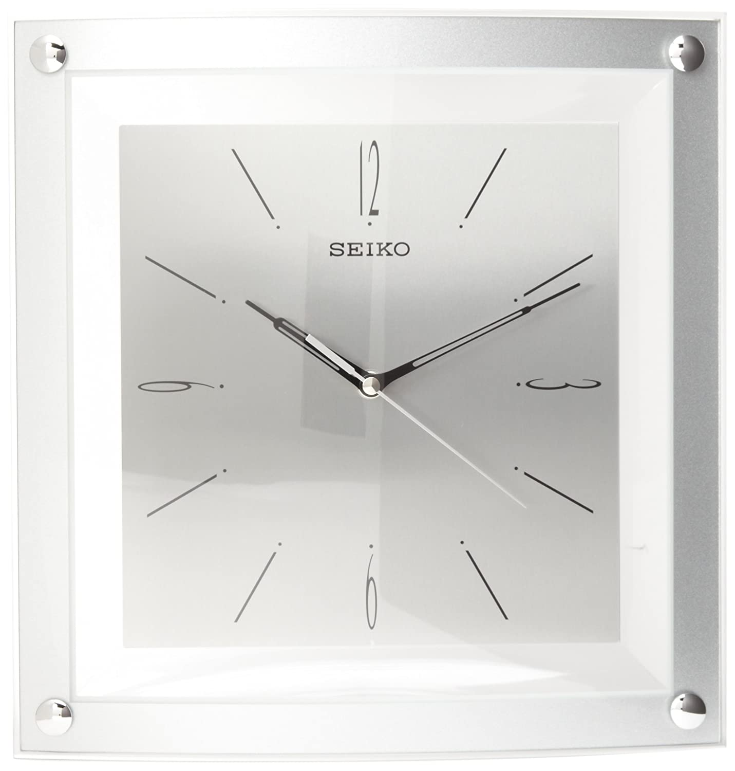 Amazon seiko wall clock quiet sweep second hand clock silver amazon seiko wall clock quiet sweep second hand clock silver tone metallic case watches amipublicfo Gallery