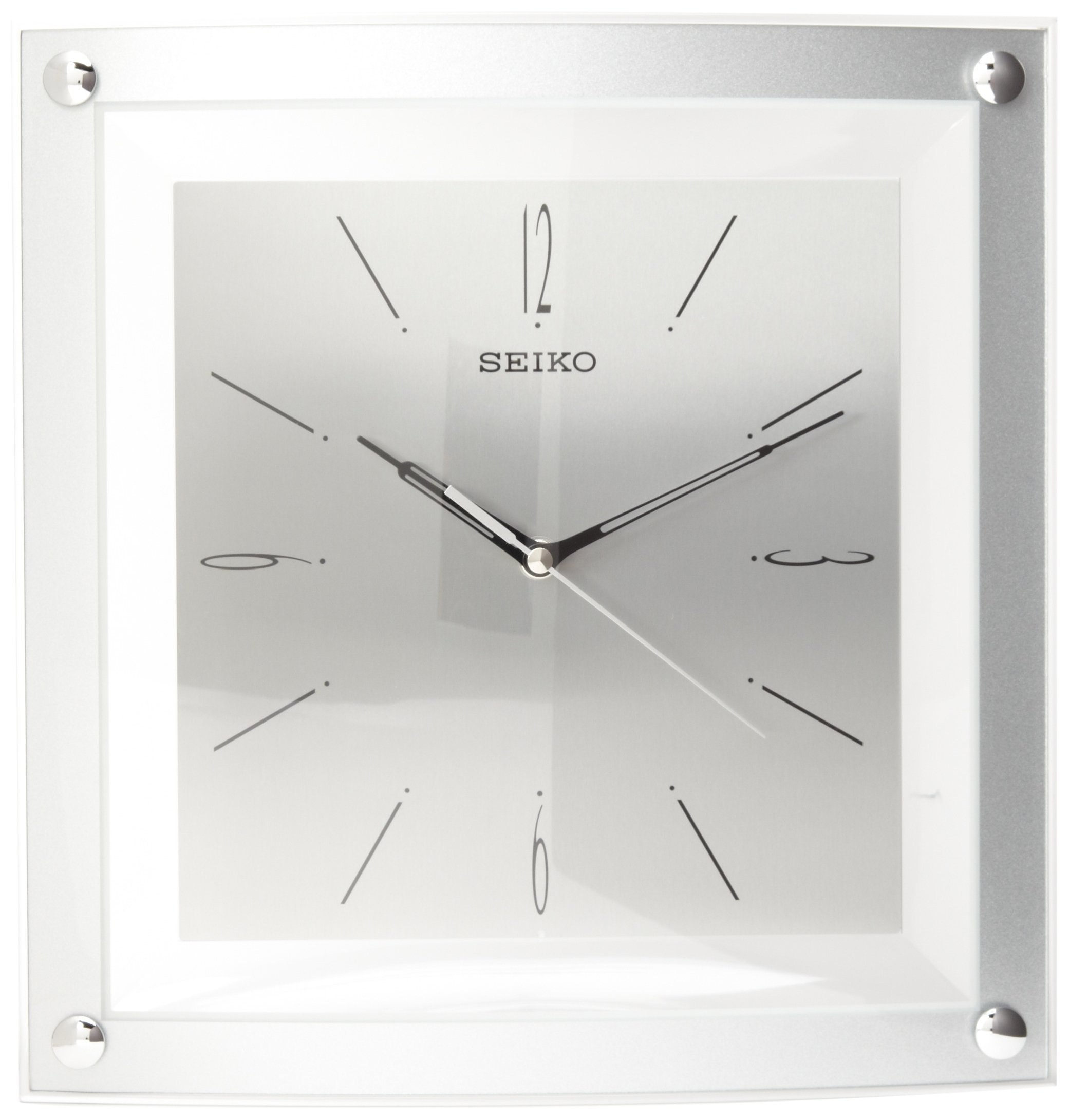 Seiko Wall Clock Quiet Sweep Second Hand Clock Silver-Tone Metallic Case by SEIKO