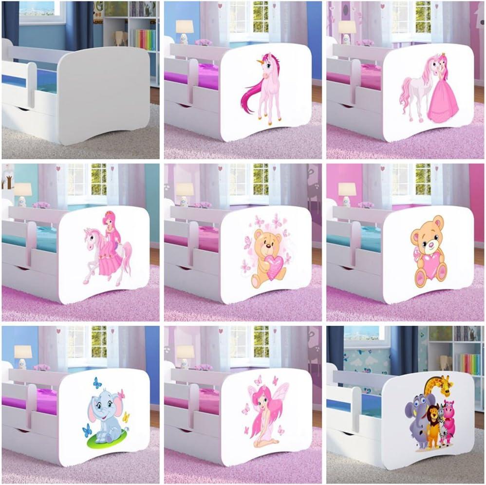 1 Kids Junior Letto per Bambini 160x80 Animali White Wonderhome24/Bianco Lettino con Materasso e stoccaggio Inclusi Cars