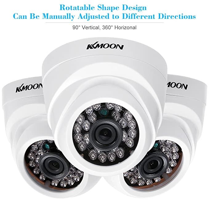 KKmoon 4 * 1080P 2000TVL AHD Domo IR CCTV Cámara + 4 * 60 ft Monitoreo Cable Soporte Infrarrojos Night Vision 24pcs lámparas Infrarrojos 1/2,9 Pulgadas CMOS ...