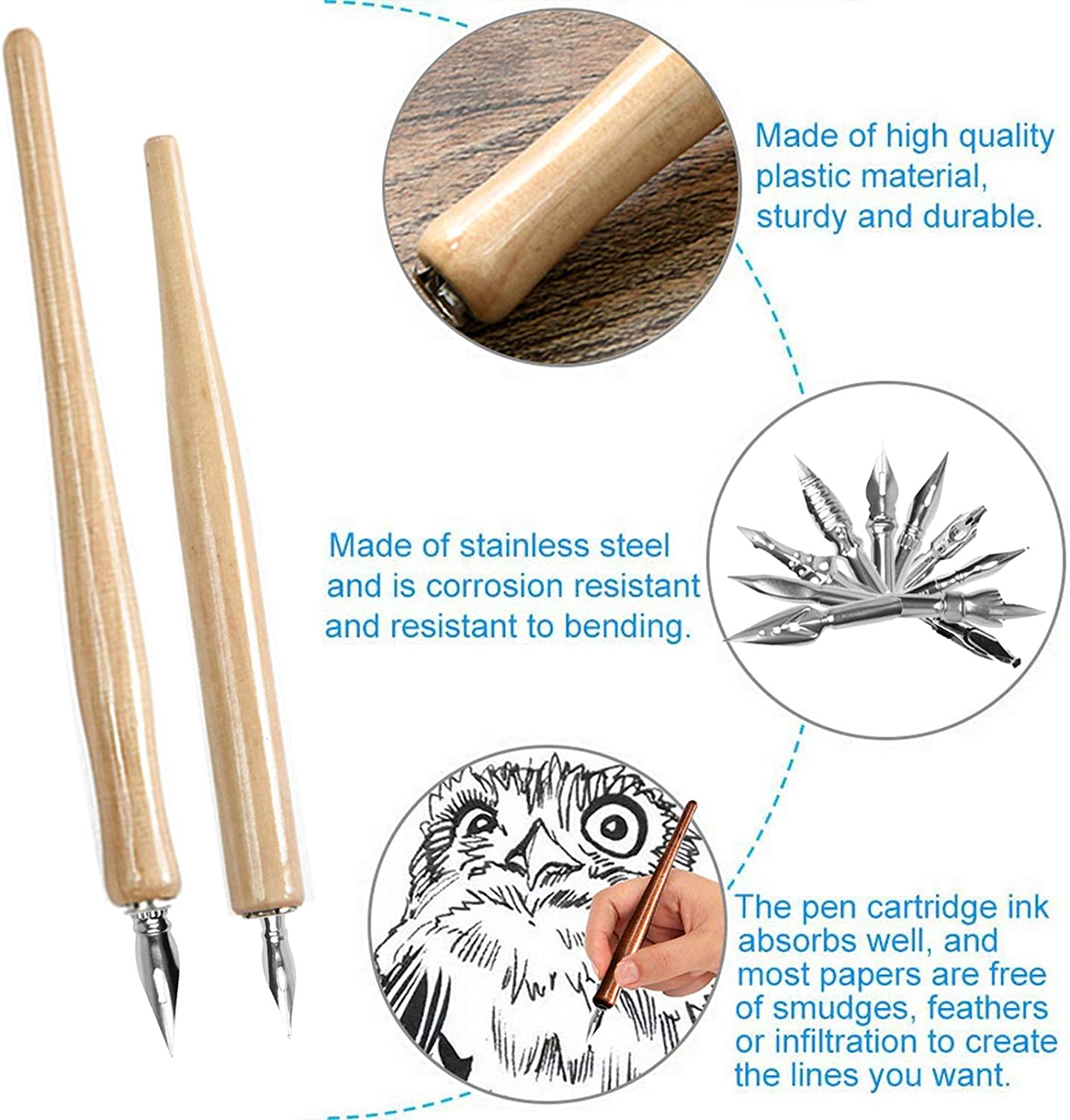 Calligraphy Pens Calligraphy Gift With 2 Wood Logs Pen Holders 9 Nibs Ideal for Painting Animation Calligraphy Lettering Sketch Cartoonists Comic Dip Pen
