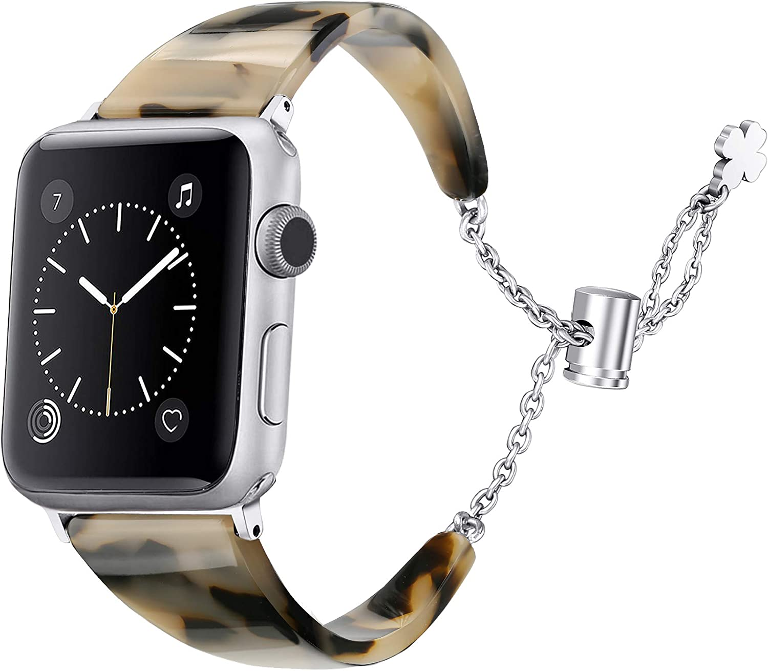 Secbolt Resin Band Compatible with Apple Watch Band 38mm 40mm iWatch Series 5/4/3/2/1, Tough Tortoiseshell-Tone Waterproof Stainless Steel Chains Wristband Dressy Bracelet Accessories Women