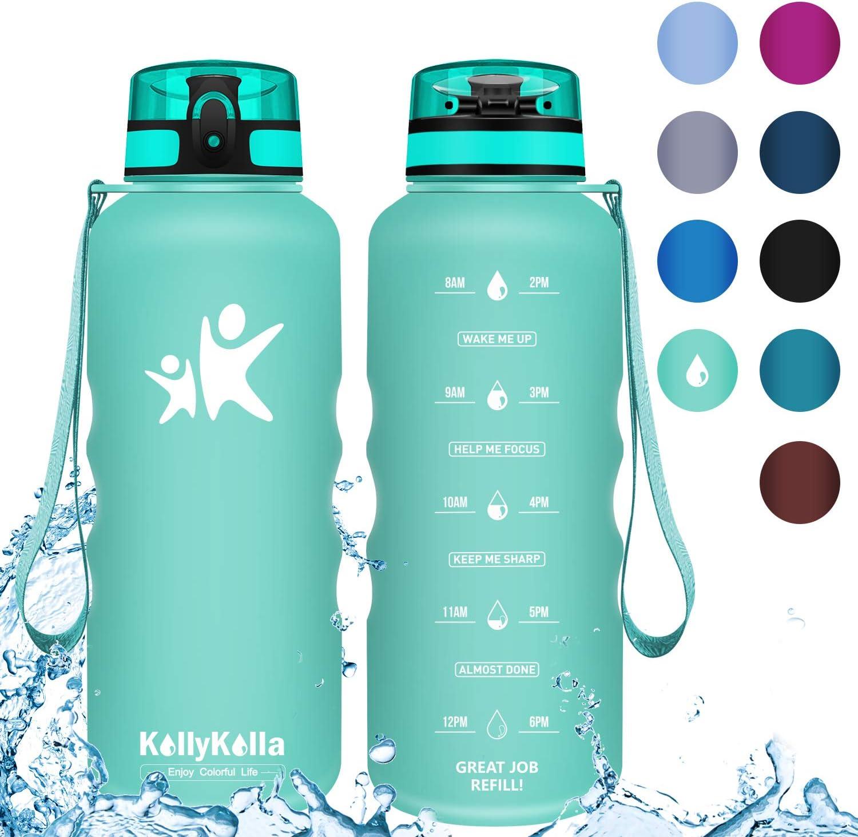 KollyKolla Sports Water Bottles 32oz,27oz,17oz,12oz,Reusable Plastic Water Bottle with Time Marker and Filter, BPA Free Tritan Kids Flip Top Water Bottle for Gym, Bike, Yoga, Running