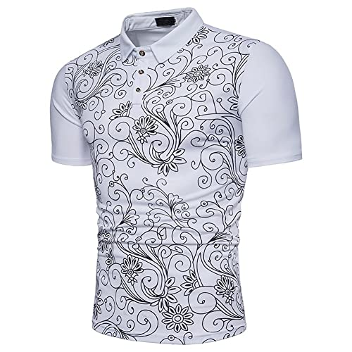 2b6901d1 2018 New Men's Fashion Color Print Polo Shirt Half Sleeve Casual Long  Section Sleeve Short-Sleeve T-Shirts Tee Men's Wear (Size : M, ...