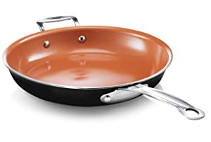 "Gotham Steel 12"" Fry Pan with Ultra Nonstick Titanium and Ceramic Copper Coating with Helper Handle, Dishwasher, Metal Utensil and Oven Safe"