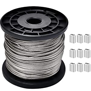 AILELAN Wire Rope, 328-Feet-by-1/16-Inch Stainless Steel 304 Wire Cable and 50 PCS Aluminum Crimping Loop