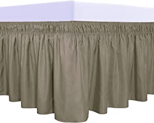 PureFit Wrap Around Ruffled Bed Skirt with Adjustable Elastic Belt - 18 Inch Drop Easy to Put On, Wrinkle Free Bedskirt Dust Ruffles, Bed Frame Cover for Queen, King and C-King Size Beds, Sand