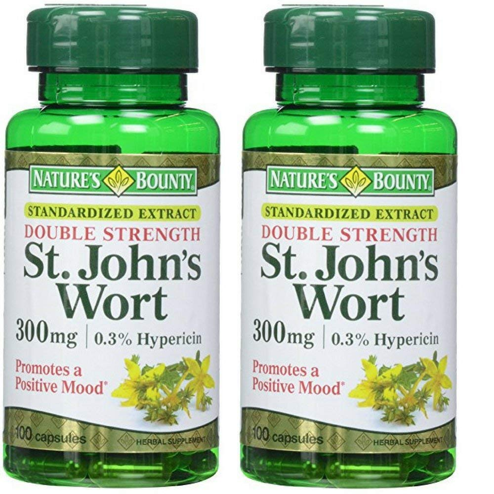 Nature's Bounty St. John's Wort 300 mg Caps, 100 ct, Pack of 2 ... (Pack of 2)