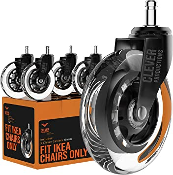 Amazon Com Caster Chair Wheels Office Replacement Set Of 5 Fit Ikea Chairs Only Rollerblade Style 3 Inch By Clever Casters No Floor Mat Heavy Duty Protection For Hardwood Tile 10