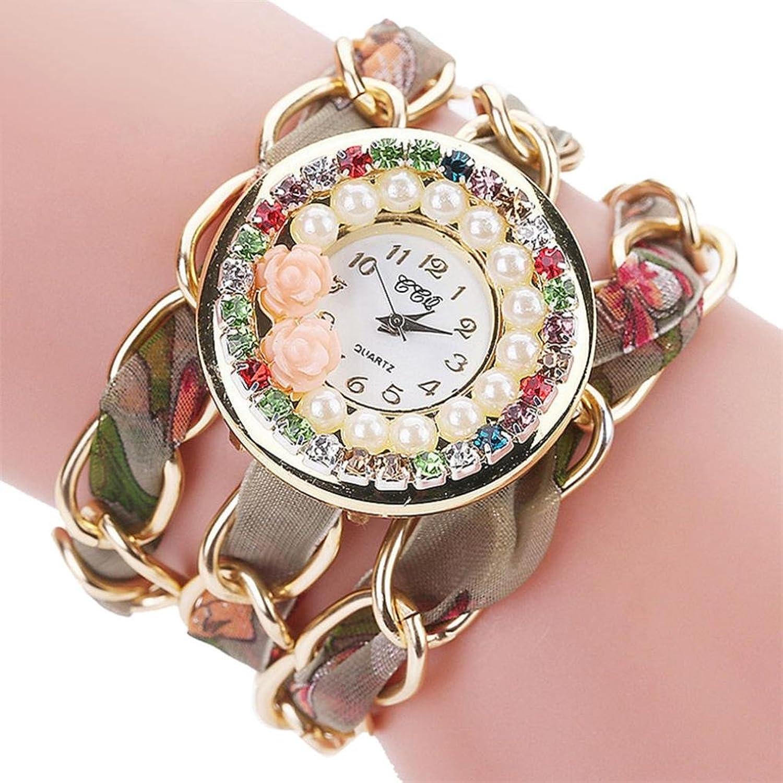 Ladies watches、Sinmaファッションチャーム女性用腕時計ヴィンテージラインストーンクリスタルブレスレットダイヤルアナログクオーツ手首腕時計 B071R3MRPC