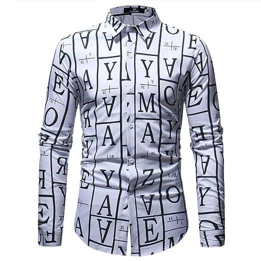 Carta de Moda para Hombre Blusa Estampada Casual Manga Larga Camisas Delgadas Tops: Amazon.es: Ropa y accesorios