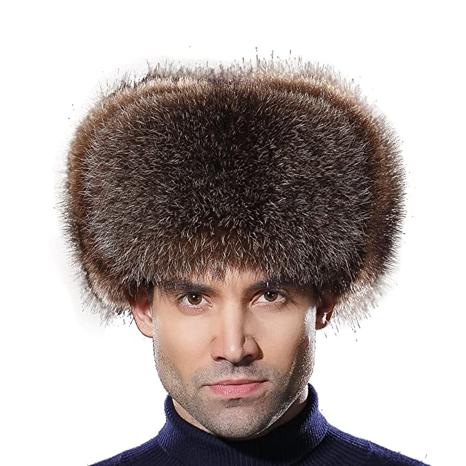 5bc289424 URSFUR Winter Men Fur Hat Real Fox Fur Russian Ushanka Trapper Cap ...