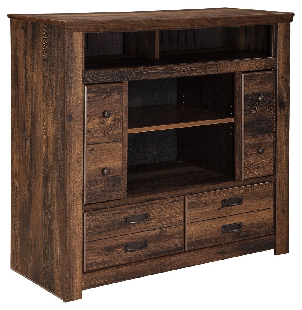 Amazon com ashley furniture signature design quinden media chest 2 cabinets and 2 drawers vintage casual dark brown kitchen dining